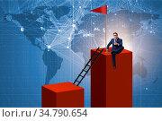 Businessman in career growth and progression concept. Стоковое фото, фотограф Zoonar.com/Elnur Amikishiyev / easy Fotostock / Фотобанк Лори
