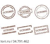 October Stempel - October stamps. Стоковое фото, фотограф Zoonar.com/Robert Biedermann / easy Fotostock / Фотобанк Лори
