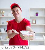 Post man delivering a parcel package. Стоковое фото, фотограф Elnur / Фотобанк Лори