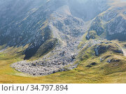 Stone scree - the consequences of a landslide in the mountains. Стоковое фото, фотограф Евгений Харитонов / Фотобанк Лори