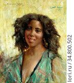 Gasté Constant Georges - Portrait of a Woman - French School - 19th... Стоковое фото, фотограф Artepics / age Fotostock / Фотобанк Лори