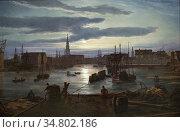 Dahl Johan Christian Clausen - Copenhagen Harbor by Moonlight - Norwegian... Редакционное фото, фотограф Artepics / age Fotostock / Фотобанк Лори