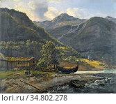 Dahl Johan Christian Clausen - View at Skjolden in Lyster - Norwegian... Редакционное фото, фотограф Artepics / age Fotostock / Фотобанк Лори