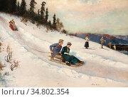 Ender Axel Hjalmar - Luge - Norwegian School - 19th Century. Редакционное фото, фотограф Artepics / age Fotostock / Фотобанк Лори