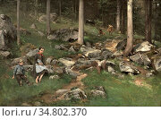 Ender Axel Hjalmar - Skogsparti Med Jente Gutt Og Kyr - Norwegian... Редакционное фото, фотограф Artepics / age Fotostock / Фотобанк Лори
