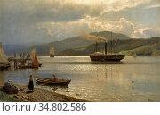 Gude Hans Fredrik - Landscape (Steamship at Drøbak) - Norwegian School... Редакционное фото, фотограф Artepics / age Fotostock / Фотобанк Лори