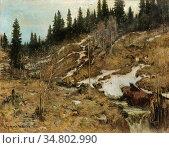 Munthe Gerhard - Snowy River Landscape - Norwegian School - 19th ... Редакционное фото, фотограф Artepics / age Fotostock / Фотобанк Лори