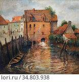 Thaulow Frits - Kanal in Antwerpen 1 - Norwegian School - 19th Century... Редакционное фото, фотограф Artepics / age Fotostock / Фотобанк Лори