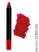 Red cosmetic pencil lipstick with matching color stroke sample, beauty... Стоковое фото, фотограф Zoonar.com/Arthur Mustafa / easy Fotostock / Фотобанк Лори