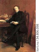 Meissonier Jean-Louis Ernest - Portrait of Alexandre Dumas Jr - French... Редакционное фото, фотограф Artepics / age Fotostock / Фотобанк Лори