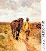 Meissonier Jean-Louis Ernest - Un Homme D'armes Et Son Cheval - French... Редакционное фото, фотограф Artepics / age Fotostock / Фотобанк Лори