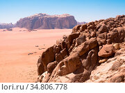 Panorama of Wadi Rum desert, Jordan. Стоковое фото, фотограф Zoonar.com/ssviluppo / easy Fotostock / Фотобанк Лори
