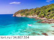 Aerial View point of Tropical white sand beach and snorkel point at... Стоковое фото, фотограф Vichaya Kiatying-Angsulee / easy Fotostock / Фотобанк Лори