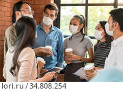 Group of business worker team meeting and brainstorm for startup new... Стоковое фото, фотограф Vichaya Kiatying-Angsulee / easy Fotostock / Фотобанк Лори