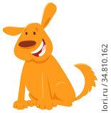 Cartoon Illustration of Happy Yellow Dog Animal Character. Стоковое фото, фотограф Zoonar.com/Igor Zakowski / easy Fotostock / Фотобанк Лори