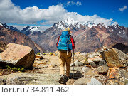 Hiking scene in Cordillera mountains, Peru. Стоковое фото, фотограф Zoonar.com/Galyna Andrushko / easy Fotostock / Фотобанк Лори