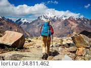 Hiking scene in Cordillera mountains, Peru. Стоковое фото, фотограф Zoonar.com/Galyna Andrushko / easy Fotostock / Фотобанк Лори