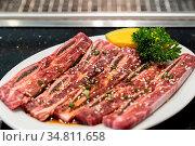 Raw premium wagyu beef rib for japanese yakiniku. Стоковое фото, фотограф Zoonar.com/Vichie81 / easy Fotostock / Фотобанк Лори