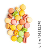 Sweet colorful macarons isolated on white background. Стоковое фото, фотограф Zoonar.com/JIRI HERA / easy Fotostock / Фотобанк Лори