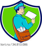 Illustration of a mailman postman delivering a letter looking to the... Стоковое фото, фотограф Zoonar.com/patrimonio designs limited / easy Fotostock / Фотобанк Лори