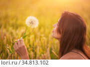 Beautiful young woman blows dandelion in a wheat field in the summer... Стоковое фото, фотограф Zoonar.com/DAVID HERRAEZ CALZADA / easy Fotostock / Фотобанк Лори