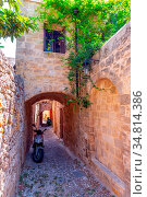 The picturesque streets of Rhodes medieval Old Town, Rhodes, Greece... Стоковое фото, фотограф Zoonar.com/Arthur Mustafa / easy Fotostock / Фотобанк Лори