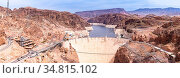 Hoover dam in Arizona and Nevada, USA Panorama. Стоковое фото, фотограф Zoonar.com/Vichie81 / easy Fotostock / Фотобанк Лори
