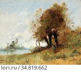 Trouillebert Paul Désiré - a River Landscape - French School - 19th... Редакционное фото, фотограф Artepics / age Fotostock / Фотобанк Лори