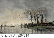 Bock Theophile Emile Achille De - a Town on the River Vecht - Dutch... Редакционное фото, фотограф Artepics / age Fotostock / Фотобанк Лори