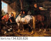 Boogaard Willem Johan - Het Verzorgen Van De Paarden - Dutch School... Редакционное фото, фотограф Artepics / age Fotostock / Фотобанк Лори