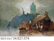 Borselen Pieter Van - Händler an Einem Zugefrorenem Kanal - Dutch... Редакционное фото, фотограф Artepics / age Fotostock / Фотобанк Лори