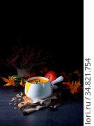Pumpkin cream soup with roasted pumpkin seeds and seed oil. Стоковое фото, фотограф Zoonar.com/Darius Dzinnik / easy Fotostock / Фотобанк Лори