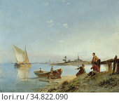 Dommersen Pieter Cornelis - Peering out over Sea - Dutch School - ... Редакционное фото, фотограф Artepics / age Fotostock / Фотобанк Лори