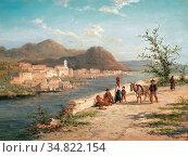 Dommersen William Raymond - Scene of Chiusi in Italy - Dutch School... Редакционное фото, фотограф Artepics / age Fotostock / Фотобанк Лори