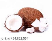 Coconut on a white background. Стоковое фото, фотограф Zoonar.com/Yeko Photo Studio / easy Fotostock / Фотобанк Лори
