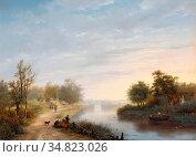 Haanen Georg Gillis Van - Fischer Beim Netzauslegen Am Fluss - Dutch... Редакционное фото, фотограф Artepics / age Fotostock / Фотобанк Лори