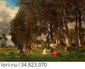 Troyon Constant - Vaches Sous Cors - French School - 19th and Early... Редакционное фото, фотограф Artepics / age Fotostock / Фотобанк Лори