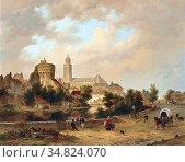 Hove Bart Van - a View of Deventer - Dutch School - 19th Century. Редакционное фото, фотограф Artepics / age Fotostock / Фотобанк Лори