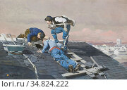 Vibert Jehan Georges - the Peeping Roofers - French School - 19th... Редакционное фото, фотограф Artepics / age Fotostock / Фотобанк Лори