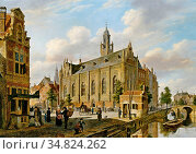Hove Bart Van - a Town Scene with Figures on a Canal - Dutch School... Редакционное фото, фотограф Artepics / age Fotostock / Фотобанк Лори