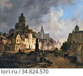 Hove Bart Van - Stadsgezicht 2 - Dutch School - 19th Century. Редакционное фото, фотограф Artepics / age Fotostock / Фотобанк Лори