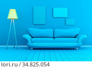 Monochromatic 3D rendered Illustration of a interior with blank picture... Стоковое фото, фотограф Zoonar.com/Michael Osterrieder / easy Fotostock / Фотобанк Лори
