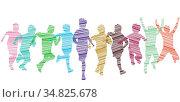 Eine Gruppe von Kind laufen und haben Freude, Illustration-Isoliert. Стоковое фото, фотограф Zoonar.com/scusi / easy Fotostock / Фотобанк Лори