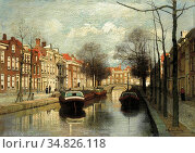 Klinkenberg Johannes Christiaan - Hollandse Gracht - Dutch School... Редакционное фото, фотограф Artepics / age Fotostock / Фотобанк Лори
