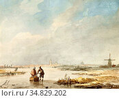 Schelfhout Andreas - Dutch Winter Scene with a Couple on a Frozen... Редакционное фото, фотограф Artepics / age Fotostock / Фотобанк Лори