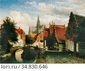 Springer Cornelis - Gracht Te Haarlem (Raaks) - Dutch School - 19th... Редакционное фото, фотограф Artepics / age Fotostock / Фотобанк Лори