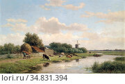 Vester Willem - Large Dutch Landscape - Dutch School - 19th Century. Редакционное фото, фотограф Artepics / age Fotostock / Фотобанк Лори