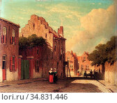 Weissenbruch Jan - a Sunlit Townview with Figures Conversing - Dutch... Редакционное фото, фотограф Artepics / age Fotostock / Фотобанк Лори