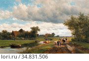 Vester Willem - Landschap Aan De Zomervaart Bij Haarlem - Dutch School... Редакционное фото, фотограф Artepics / age Fotostock / Фотобанк Лори