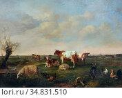 Vester Willem - Weide Met Koeien Schapen Kippen En Geitenbok - Dutch... Редакционное фото, фотограф Artepics / age Fotostock / Фотобанк Лори